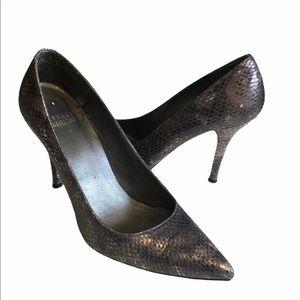 Stuart Weitzman Gunmetal Snakeskin Heels 6.5M